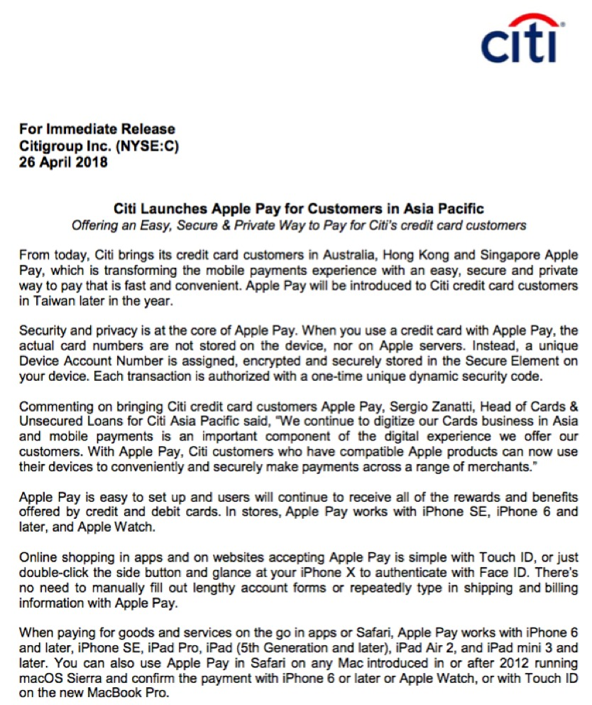 Citibank introduces apple pay in singapore australia and hong kong citibank have joined the apple pay party in singapore australia and hong kong reheart Image collections