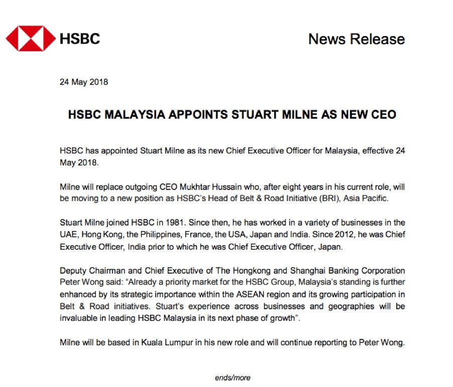HSBC Malaysia Names New CEO